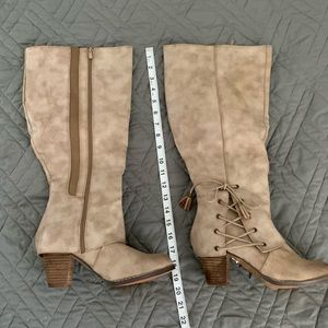 Wide Width Tan Heeled Boots